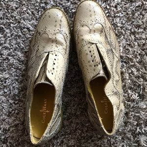 Cole Haan Snakeskin Alisa Oxford Yellow Shoes 7.5